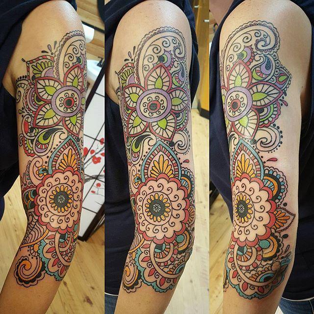 crosseyed,tattoos,paisley,tattoo,color,mydesign,mandalastyle,design,coolshit,lovemyjob,tattooed