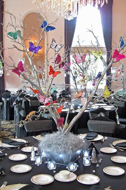 Silver Tree Centro de mesa con mariposas