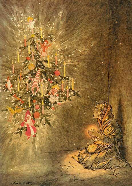 """Illustration by   Arthur Rackham   for Andersen's tale """"The fosforerita""""  (The Little Match Girl )"""