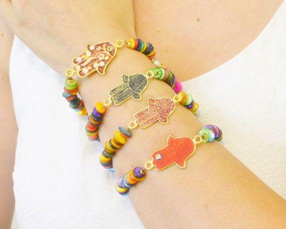 Hamsa hand bracelets good luck charm colorful by SoophieAccessory Hamsa hand bracelets, good luck charm, colorful gemstone beads, fertility symbol, hand of fathima, middleeastern, persian, jewish belief, spell, charm, boho,   Product: Elastic hand shape bracelet