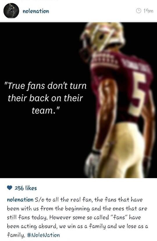 FSU 2014 | FSU fans are true fans that never turn their back on their team.