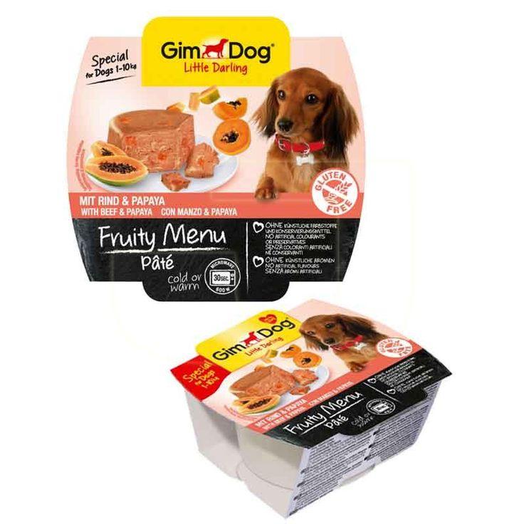 Köpekler için, yapay tatlandırıcı ve koruyucu madde içermeyen, ezme pate şeklinde, sığır etli ve papayalı, tahılsız köpek konservesi