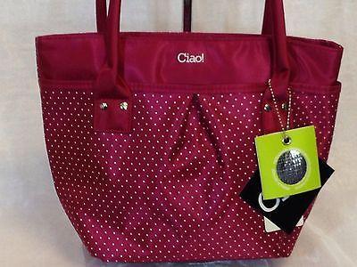 Lunch Bag Insulated Box Handbag For Woman Raspberry with  White Polka Dots NWT