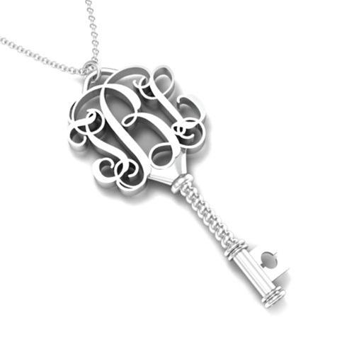 elegant & beautiful silver monogram key pendant
