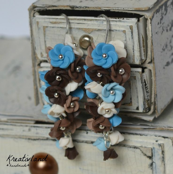 Winter blues - handcrafted from polymer clay (own design)