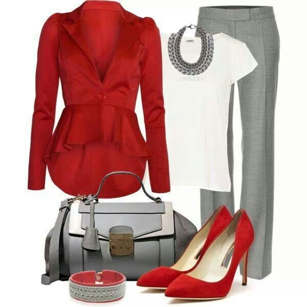 Red and Grey Ensemble