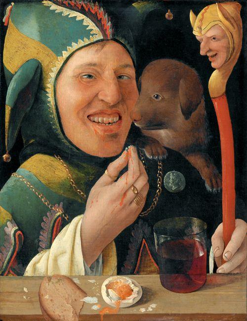 Maître du portrait de Angerer, Un fou, vers 1519-1520. Yale University Art Gallery, New Haven. L'Eloge de la Folie d'Erasme illustré par les peintres de la Renaissance du Nord, Editions Diane de Selliers.