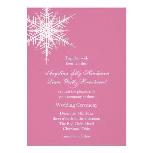 pink winter wedding invitation