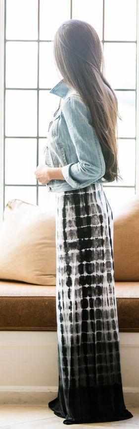 Karen Kane Black And White Tie Dye Floor Length Maxi Dress by Stylishly Me