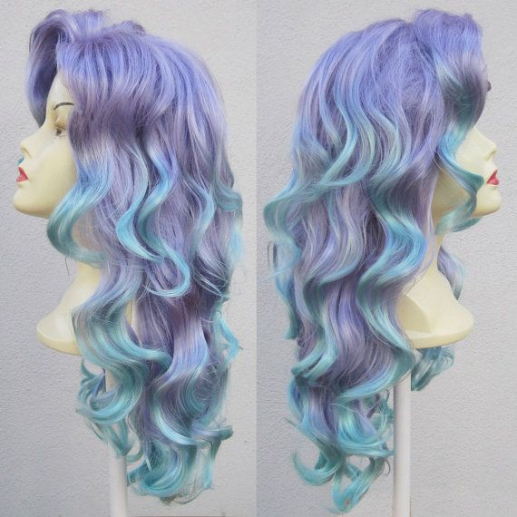 Mermaid Lagoon Purple and Aqua Adult Costume Wig From Under The Sea a True Enchantment Original. $300.00, via Etsy.