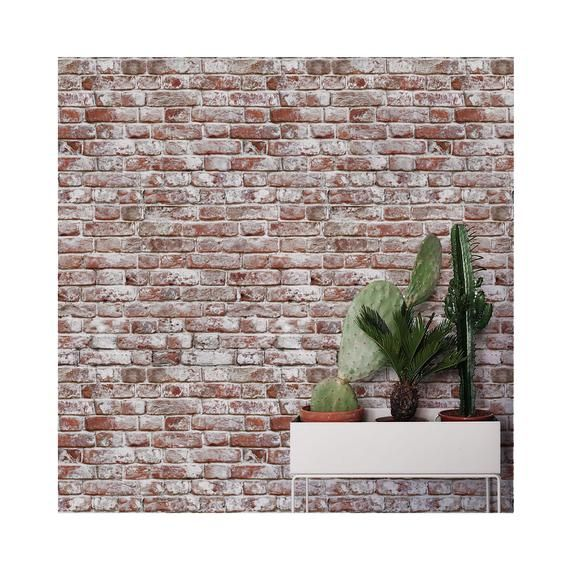 Whitewashed Antique Brick Peel 'n Stick or Traditional