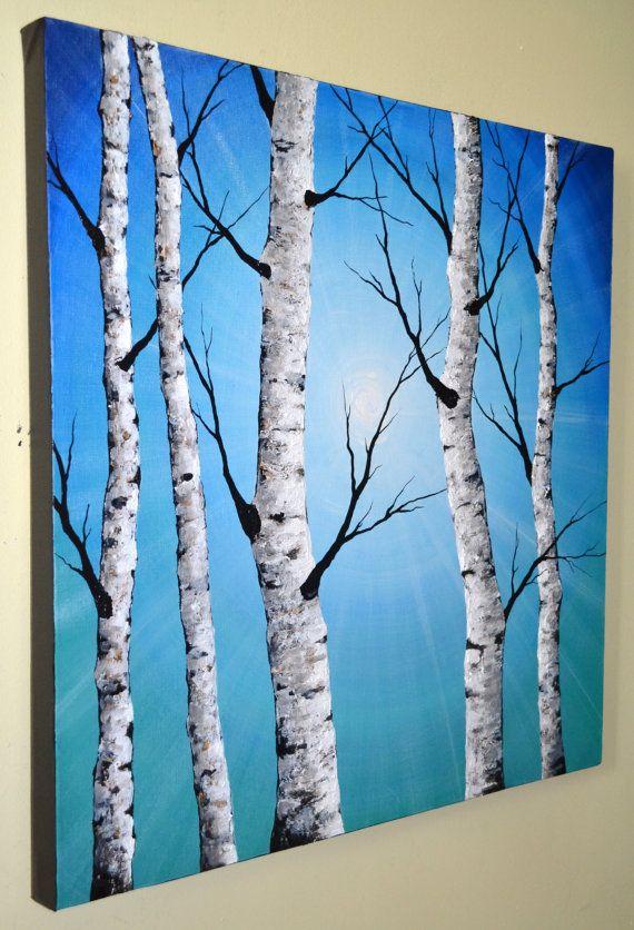 ORIGINAL Abstract Contemporary Art Textured Birch Tree Painting 24x24 Home Decor Modern Aspen Artwork Blue