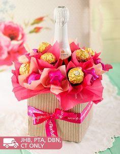 Pink Sparkling Chocolate Arrangement. Nice gift idea.