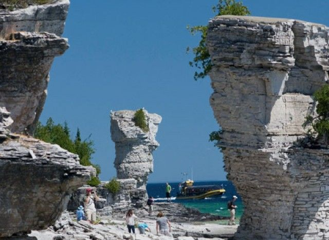 Island Accessible only by boat, just 6.5 kilometers off the coast of Tobermory lies Flowerpot Island, one of Canada's most fascinating natural attractions