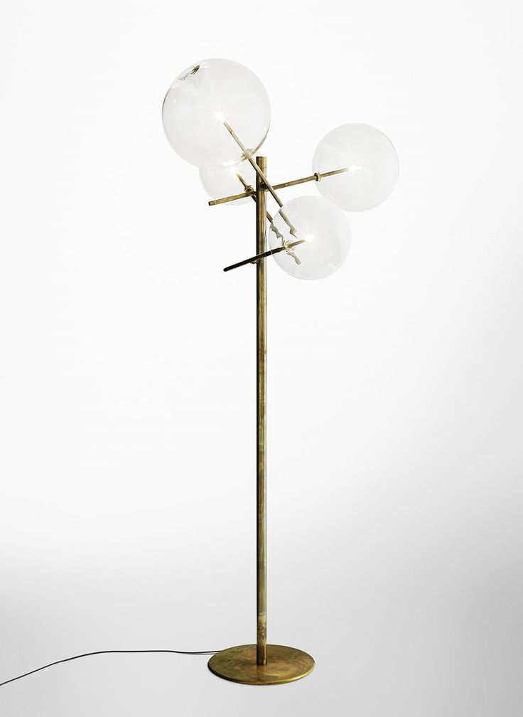 Bolle terra floor lamp with halogen point light metal parts in hand burnished brass designed by massimo castagna for gallottiradice