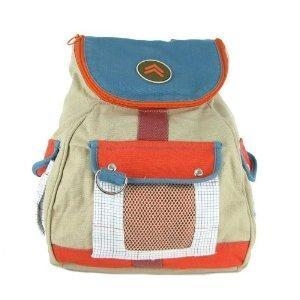 Preppy Orange & Blue Durable Cotton School Backpack