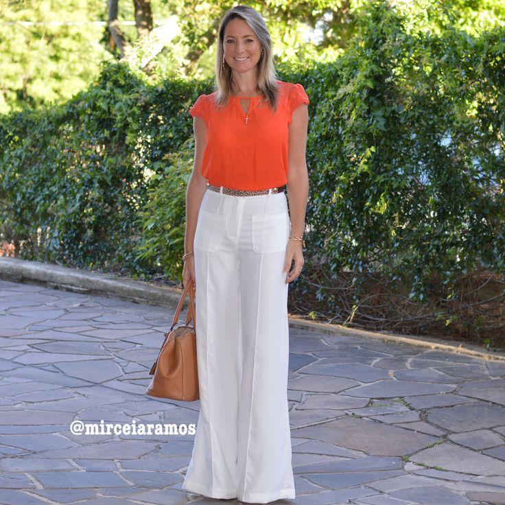 Look de trabalho - look do dia - look corporativo - moda no trabalho - work outfit - office outfit -  spring outfit - look executiva - white pants - pantalona branca - blusa laranja - orange
