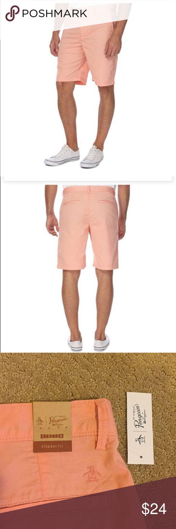 NWT men's penguin straight fit shorts, size 32 NWT men's Penguin straight fit shorts. Size 32. Color: coral almond. 98 percent cotton. 2 percent elastane. BEAUTIFUL. Original Penguin Shorts