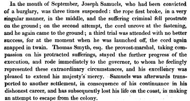 Joseph Samuels arrived on the Convict Ship Canada in 1801. Find out more about the voyage of the Canada at Free Settler or Felon