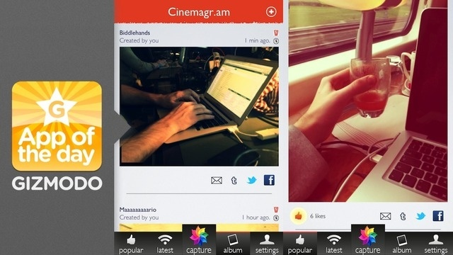 Cinemagram for iPhone: Like Instagram With Cinemagraphs |   Instagram has talked about how a move into video might be the future of the platform, which seems like a terrible idea. Know what doesn't seem like a terrible idea? Animated GIFs, especially cinemagraphs. And with the arrival of Cinemagram to the iOS App Store,you can make them right now.