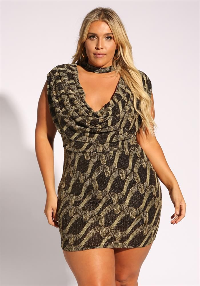 Plus Size Clothing | Plus Size Sparkle Cowl Neck Bodycon Dress ...