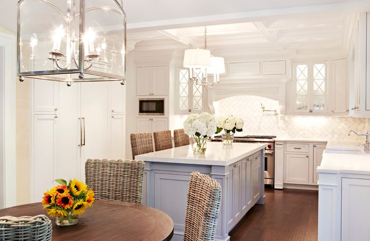 Beautiful-Wicker-Bar-Stools-vogue-New-York-Beach-Style-Kitchen-Decorators-with-Chango-Co-herringbone-tile-kitchen-island-light-pot-filler-professional- ...