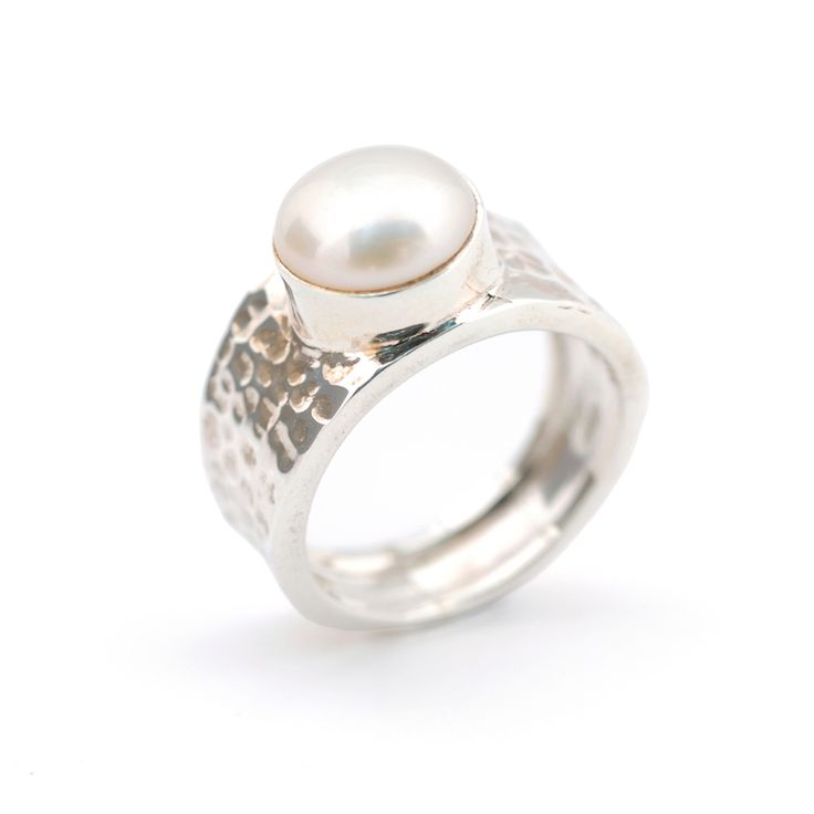 Christmas in #HTFStyle Beaten sterling silver and pearl ring