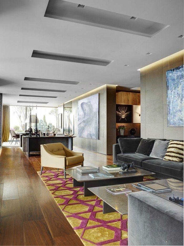 Farbenfrohe Wohnideen Wohnzimmer Teppich In Besonderen Farben Gelb Und Zyklame