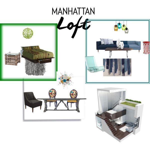 Manhattan Loft by bazso-adrien on Polyvore featuring interior, interiors, interior design, home, home decor, interior decorating, Kartell, Andrew Martin, Pottery Barn and Plumen