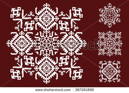 Vector Ornament Set With Caucasian Motifs On Background