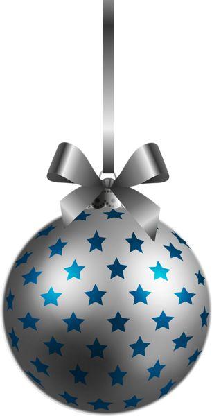 Large Transparent BlueSilver Christmas Ball Ornament PNG Clipart