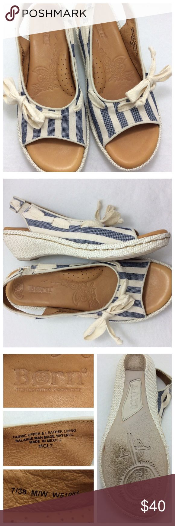 """Born Striped Open Toe Slingback Sandals Perfect for summer, these striped fabric open toe sandals have leather lining and cute front bow embellishment. Sling back and 1.75"""" kitten heel. Excellent condition Born Shoes Sandals"""
