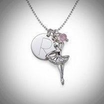 Ballerina kaulakoru nimikirjaimella – Swarovski  Kaulakoru, johon saat hopeisen ballerinariipuksen ja sen lisäksi haluamasi nimikirjaimen ja Swarovskin kristallin!