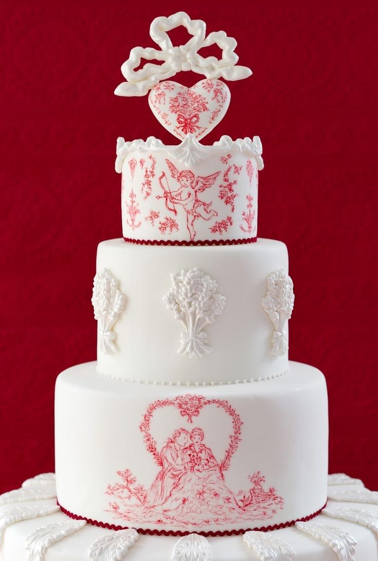 Valentines hand painted cake  Tarta de San Valentín pintada a mano