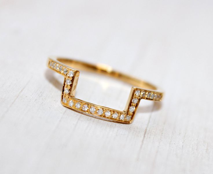 Diamond Gold Ring Half Square Ring Geometric 14K Gold Ring