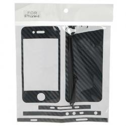 Charming Case Skin Cover Stickers with Stylus for iPhone 4 - Black