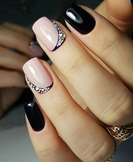 Nails design short fashion design black lacquer pink color stones shine strip all for manicure sevtao.ru Delivery of goods from China Crimea Sevastopol Russia