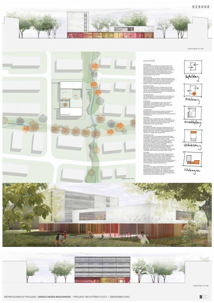 Kindergarten, Housing and Community Hall Complex / (se)arch Architekten,panel 01