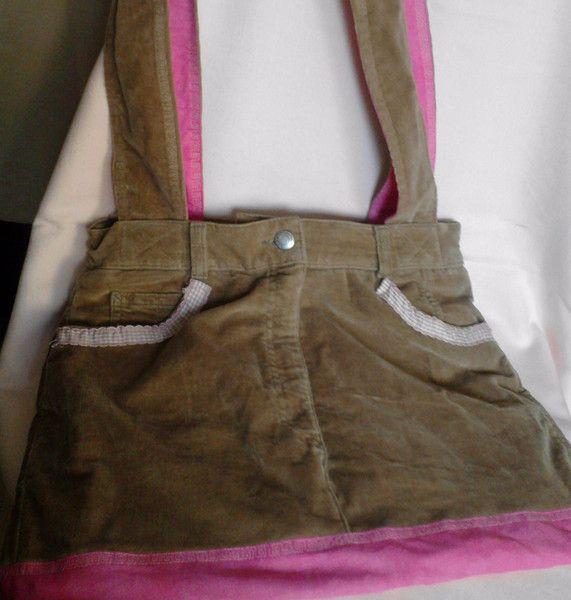 Schultertaschen - lässige Schultertasche in braun/rosa - ein Designerstück von saluhe bei DaWanda Upcycling - Cordhose wird zur Handtasche