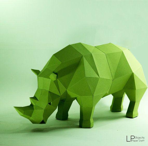 Rhino model, Rhino Sculpture , Animal paper, Rhinoceros paper ,Rhino low poly…