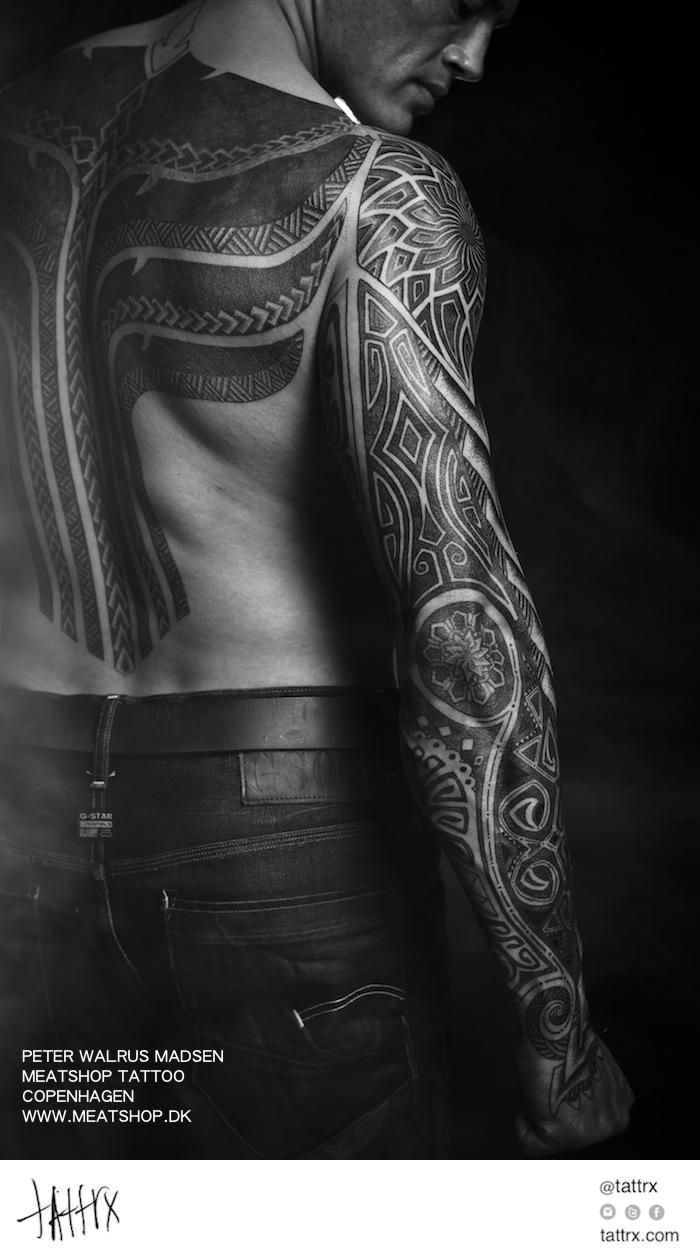 Peter Madsen Meatshop Tattoo - Multi-Tribal Hybrid Sleeve