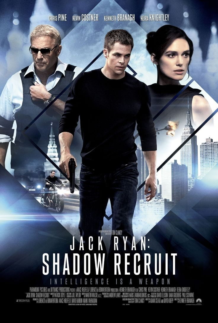 Jack Ryan: Shadow Recruit is a 2014 American action spy thriller film directed by Kenneth Branagh. Chris Pine, https://en.wikipedia.org/wiki/Jack_Ryan:_Shadow_Recruit (fr=The Ryan Initiative)