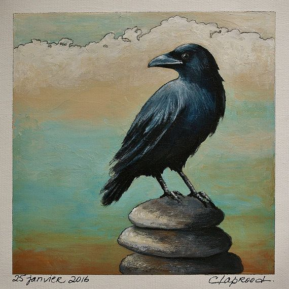 Hey, I found this really awesome Etsy listing at https://www.etsy.com/listing/265557920/black-bird-painting-black-bird-art-crow