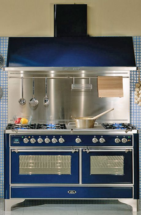 Modern Appliances -- ILVE Range with 7-burner gas cooktop, double electric ovens, and optional warming drawer