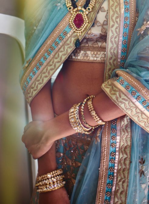 The Summer Bride by Anita Dongre | polki jewellery by Pink City with blue lehenga | 2015 new collection | thedelhibride Indian weddings blog