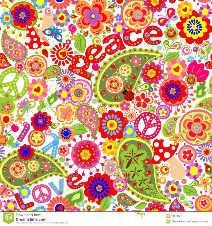 Hippie kinderachtig kleurrijk behang met paddestoelen en papavers