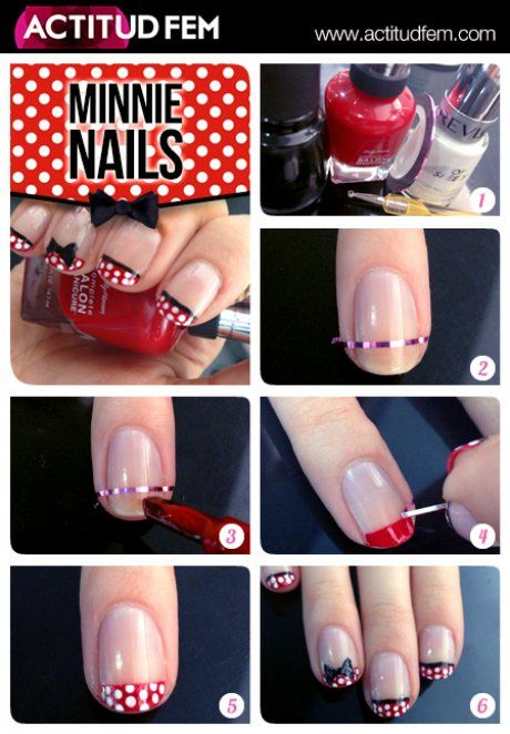 Minnie Nails #actitudfem bellezafem #nailart #tutorial #nails #diy #manicure #mani #decorado #uñas