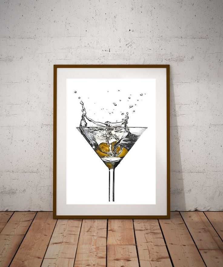 Martini splash art print, Martini art Martini bar, cocktail art print, mancave art -  - 3