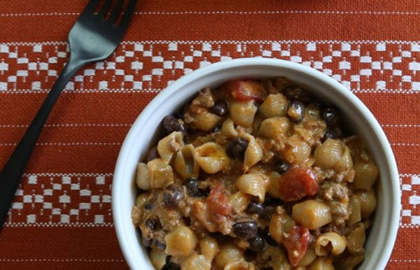 Beef and Black Bean Mac and Cheese recipe will cause a Liquid Gold dinner rush.