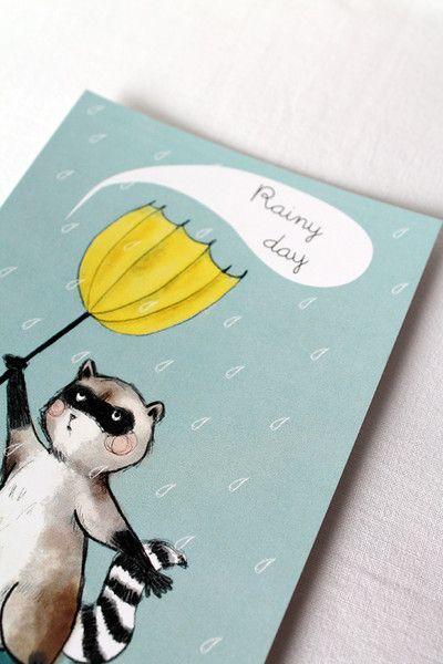Biglietto Giorno piovoso, procione con ombrello di La douceur du miel  su DaWanda.com